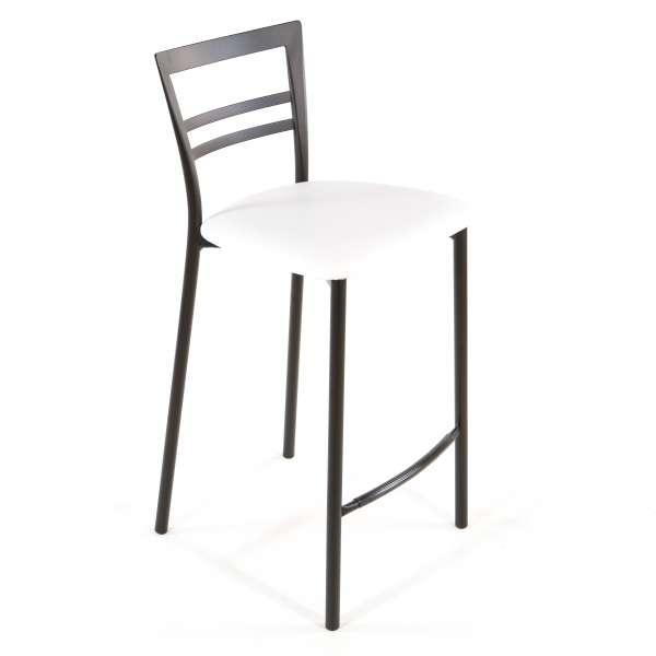 Tabouret snack contemporain en vinyle et métal noir assise blanche - Go 1513 45 - 42