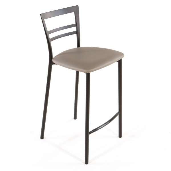 Tabouret snack contemporain en vinyle et métal noir assise taupe - Go 1513 47 - 44