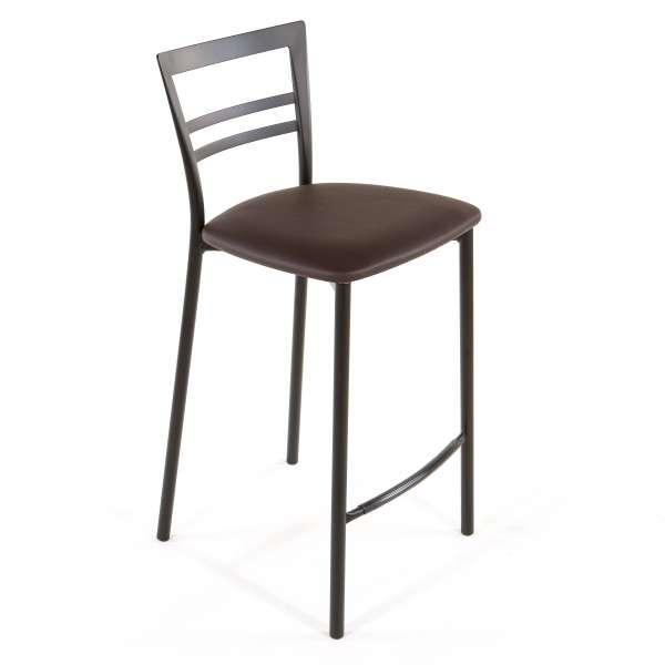 Tabouret snack contemporain en vinyle et métal noir assise moka - Go 1513 48 - 45