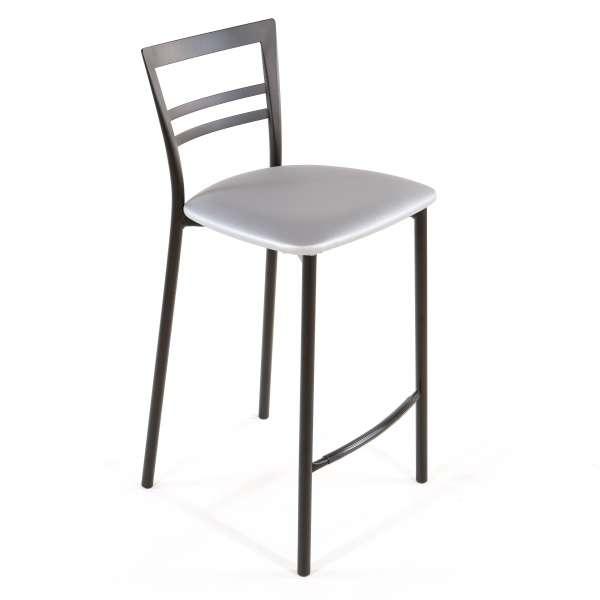 Tabouret snack contemporain en vinyle et métal noir assise alu - Go 1513 49 - 46