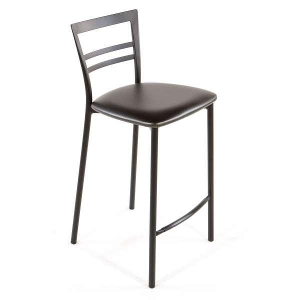 Tabouret snack contemporain en vinyle et métal noir assise carbon look - Go 1513 50 - 47