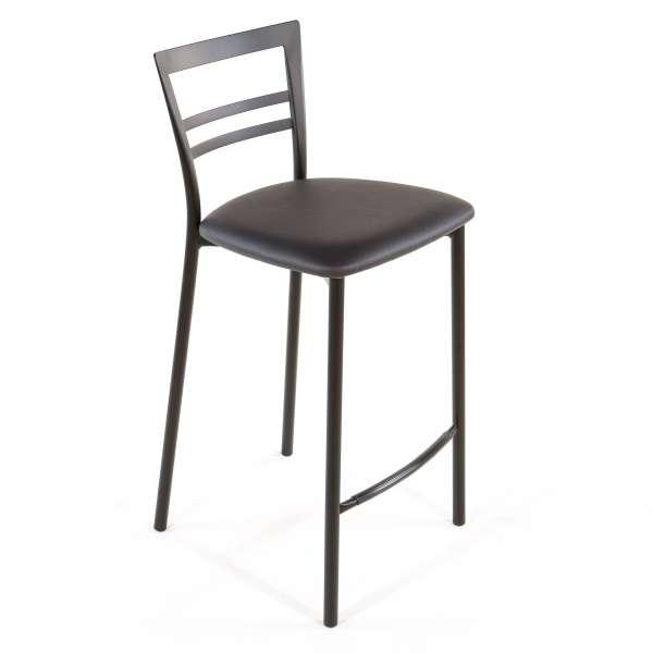 Tabouret snack contemporain en vinyle et métal noir assise gris anthracite - Go 1513 51 - 48