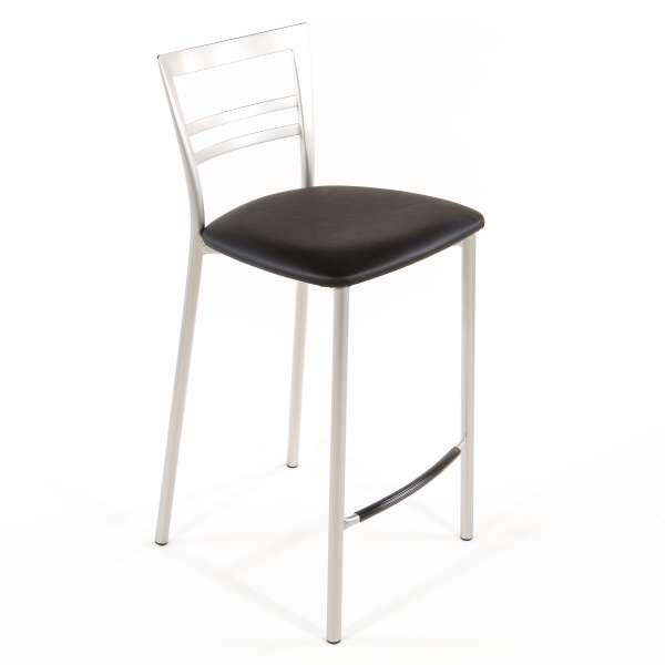 Tabouret snack contemporain en vinyle et métal satiné assise noire - Go 1513 60 - 49