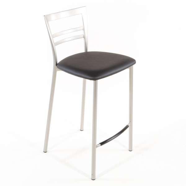 Tabouret snack contemporain en vinyle et métal satiné assise gris anthracite - Go 1513 61 - 50