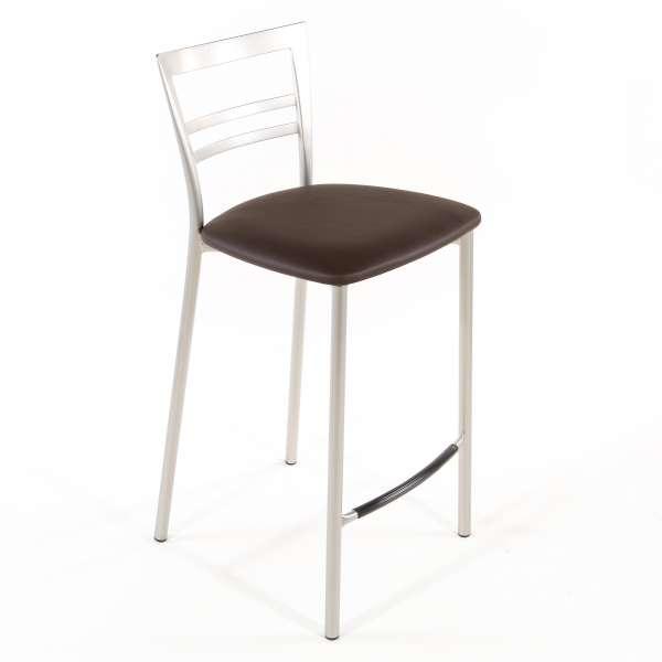 Tabouret snack contemporain en vinyle et métal satiné assise moka - Go 1513 64 - 53