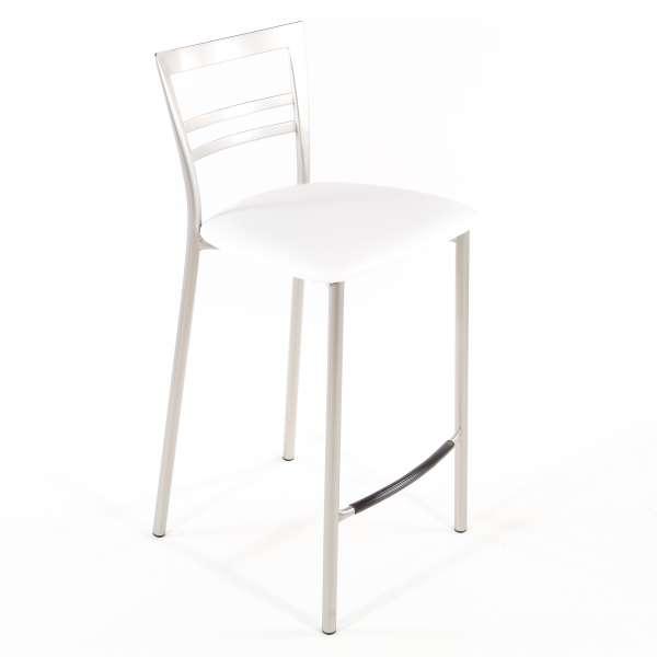 Tabouret snack contemporain en vinyle et métal satiné assise blanche - Go 1513 67 - 56