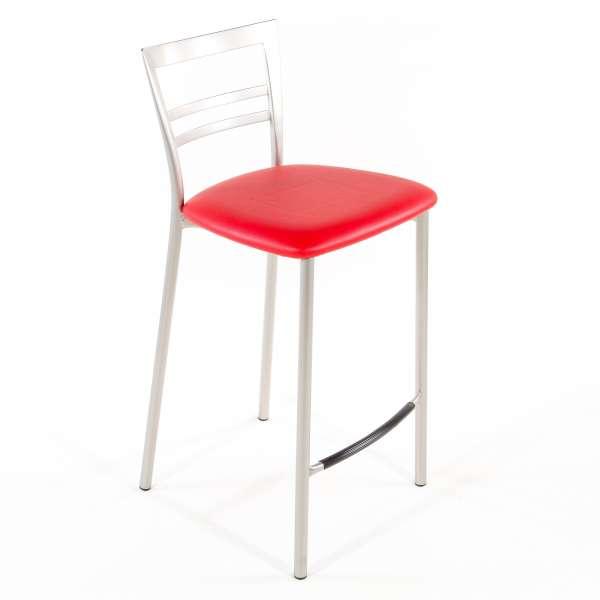 Tabouret snack contemporain en vinyle et métal satiné assise rouge - Go 1513 68 - 57