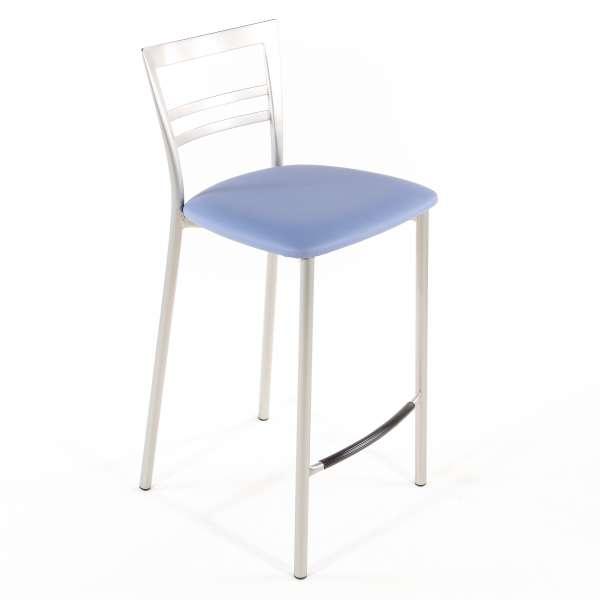 Tabouret snack contemporain en vinyle et métal satiné assise bleue - Go 1513 70 - 58
