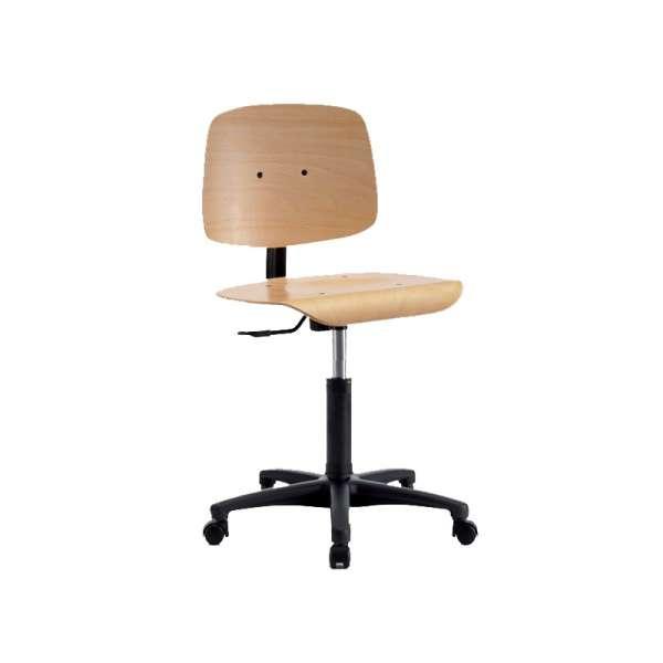 Chaise d'atelier en bois sur roulettes - Tecnik TB20 - 1