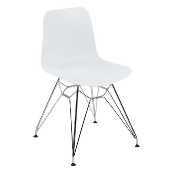 Chaise design en polypropylène blanc et métal chromé - Céleste  - 1