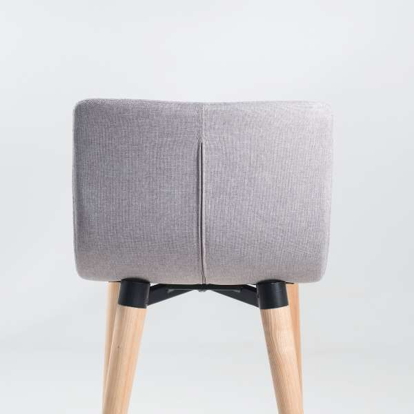 Tabouret snack style scandinave en tissu gris clair et bois - Doris - 4