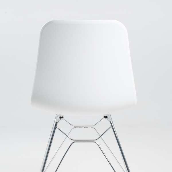 Chaise design en plastique blanc et métal chromé - Céleste  - 4