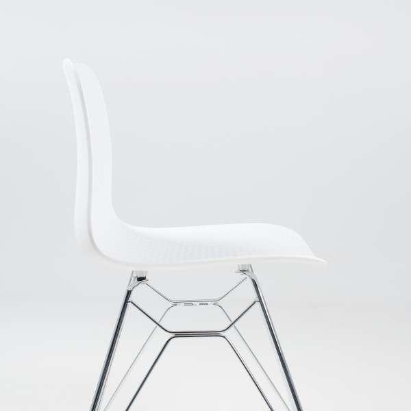 Chaise moderne en plastique blanc et métal chromé - Céleste  - 5