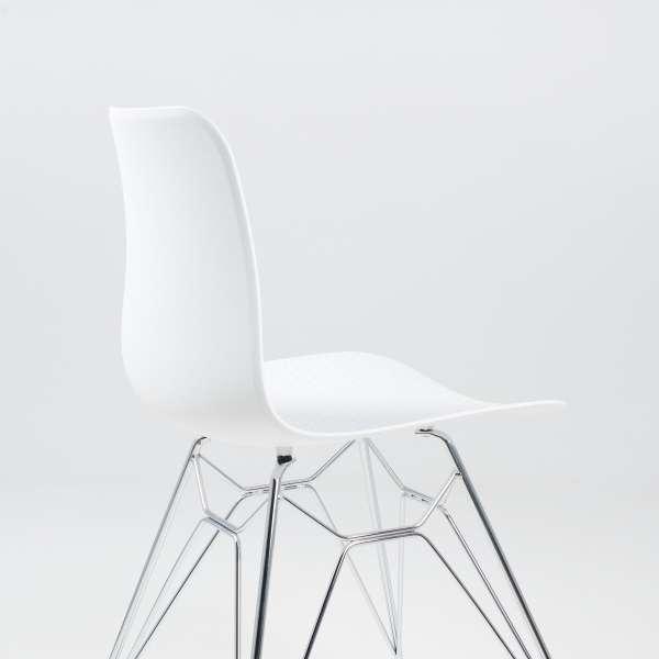 Chaise design en plastique blanc avec pieds chromés - Céleste  - 6