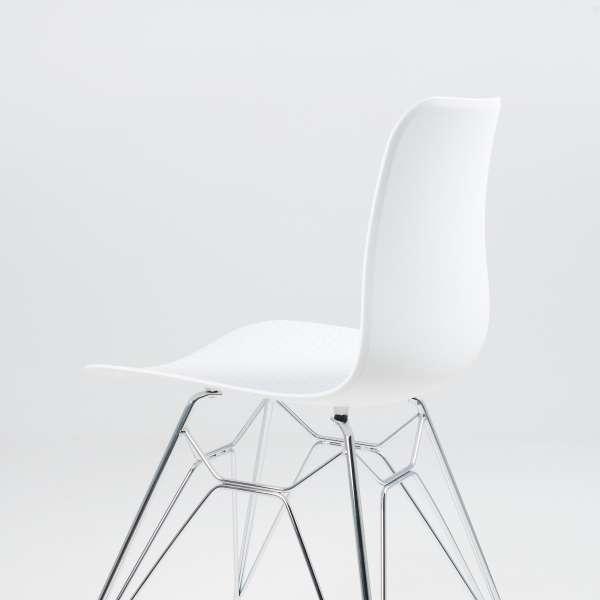 Chaise design en polypropylène blanc avec pieds chromés - Céleste  - 7