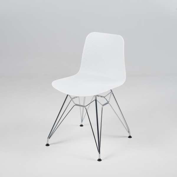 Chaise design en plastique blanc et métal chromé - Céleste - 2