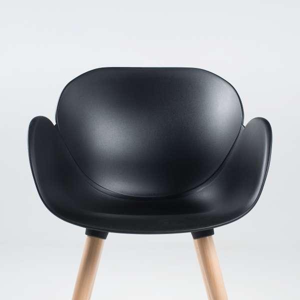 Fauteuil design en polypropylène noir et bois naturel - Victoire - 2