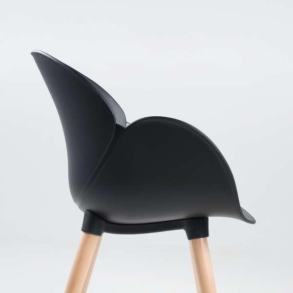 Fauteuil design en plastique noir et bois naturel - Victoire - 4