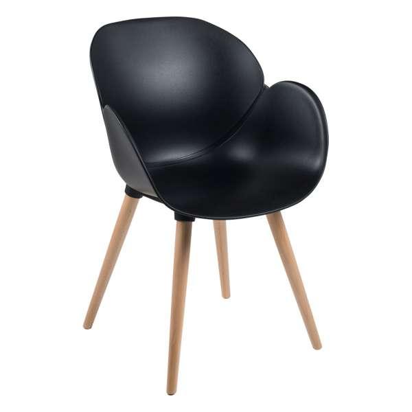 Fauteuil design en polypropylène noir et bois naturel - Victoire - 1