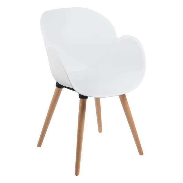 Fauteuil design en polypropylène blanc et bois naturel - Victoire - 10