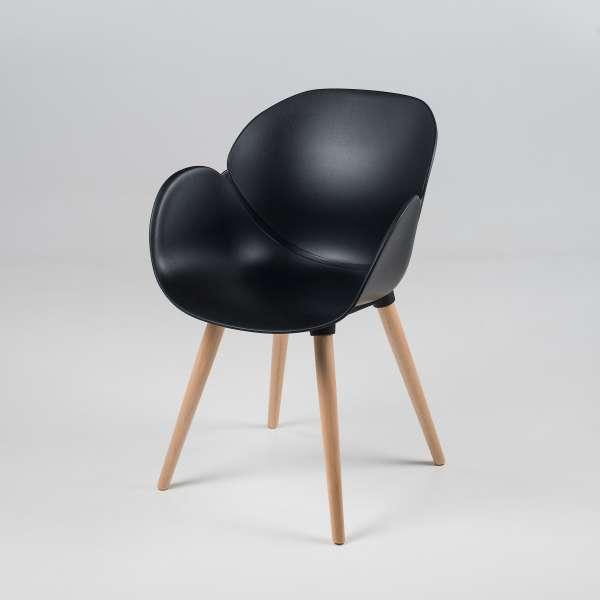 Fauteuil design en polypropylène noir et bois naturel - Victoire - 6