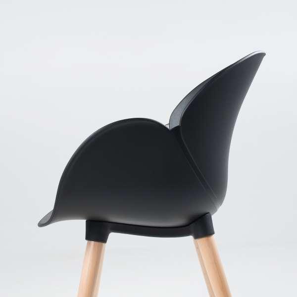 Fauteuil moderne en polypropylène noir et bois naturel - Victoire - 7