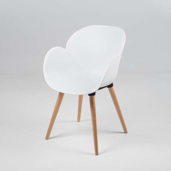 Fauteuil design en plastique blanc et bois naturel - Victoire - 11