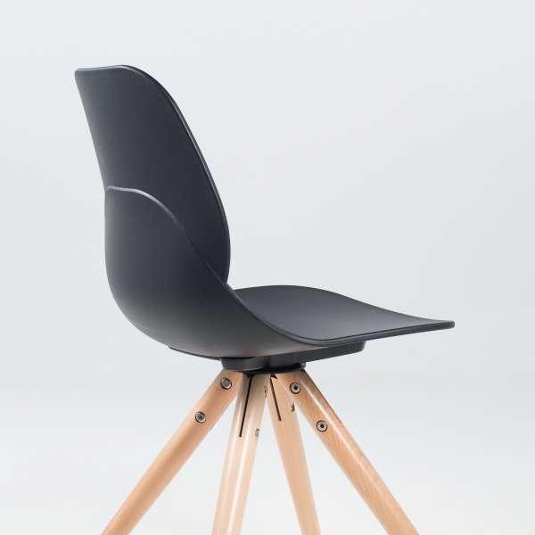 Chaise design en polypropylène noir et bois - Victoire - 7