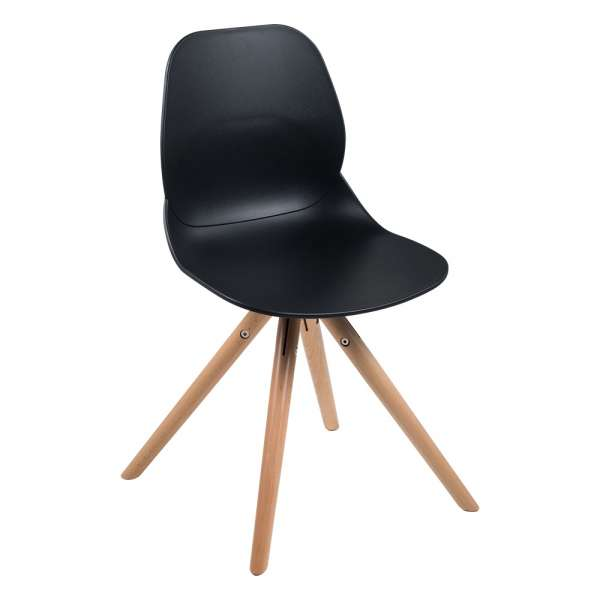 Chaise design en polypropylène noir avec pieds en bois naturel - Victoire - 1