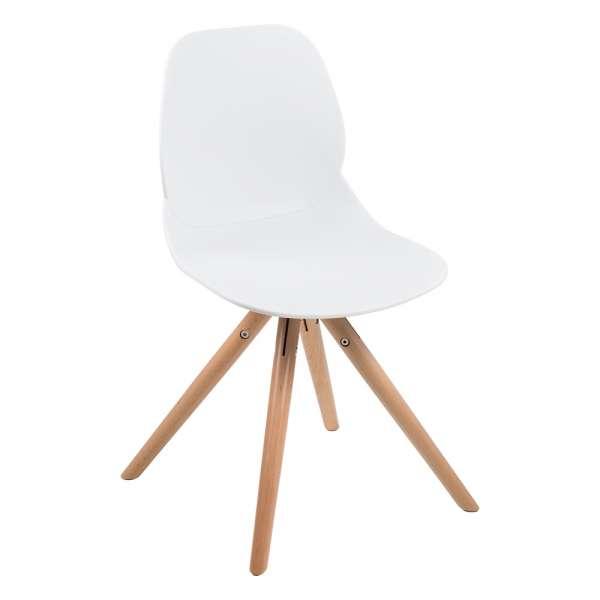 Chaise design en polypropylène blanc avec pieds en bois naturel - Victoire - 9