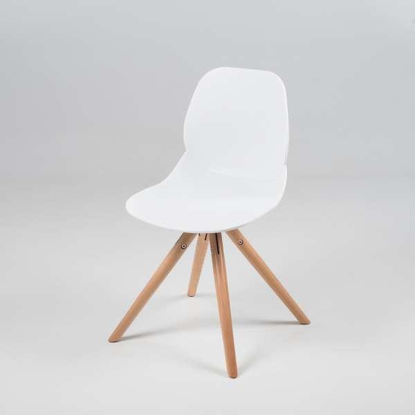 Chaise design en plastique blanc et pieds en bois naturel - Victoire 2 - 10