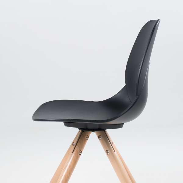 Chaise design en polypropylène noir et bois - Victoire - 6
