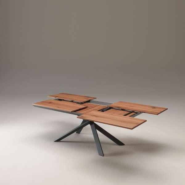 Table design rectangulaire extensible en bois et métal - 4x4 12 - 8