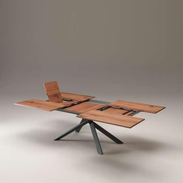 Table design rectangulaire extensible en bois et métal - 4x4 14 - 9
