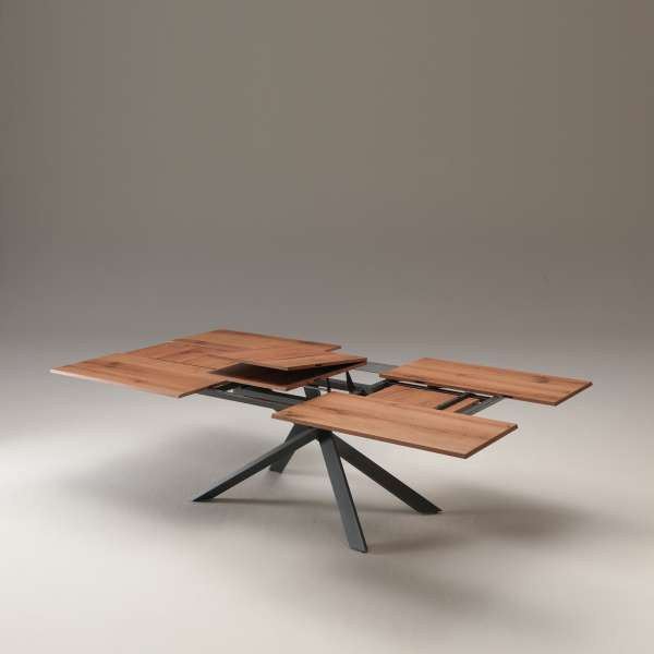 Table design rectangulaire extensible en bois et métal - 4x4 15 - 11