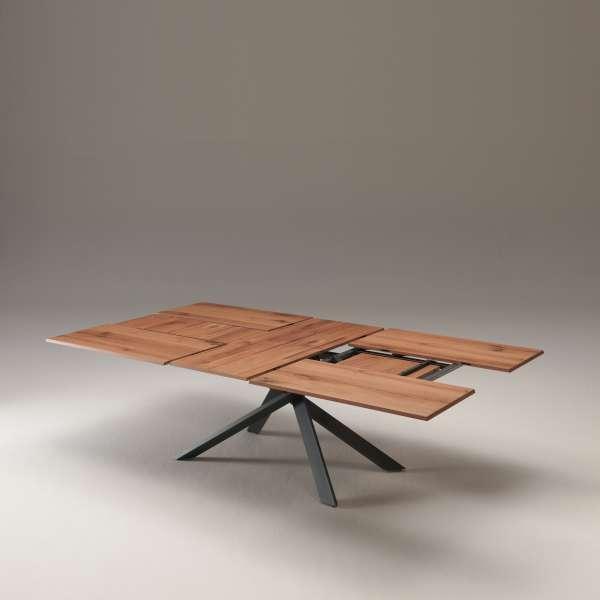 Table design rectangulaire extensible en bois et métal - 4x4 16 - 12