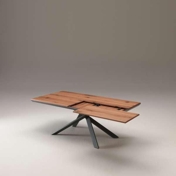Table design rectangulaire extensible en bois et métal - 4x4 10 - 6