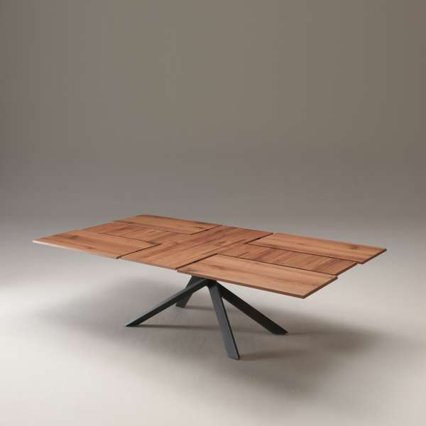 Table design rectangulaire extensible en bois et métal - 4x4 18 - 14