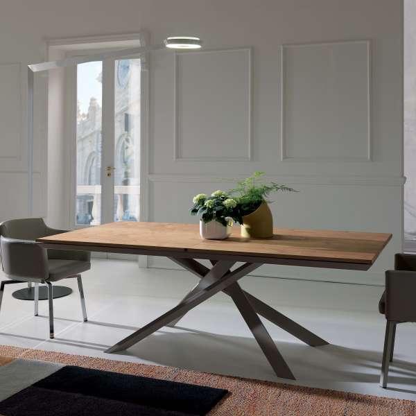 Table design rectangulaire extensible en bois et métal - 4x4 - 1