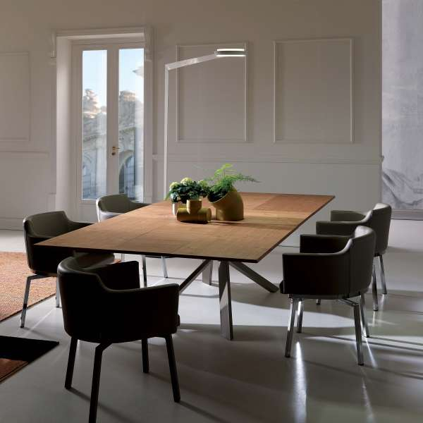 Table design rectangulaire extensible en bois et métal - 4x4 4 - 18