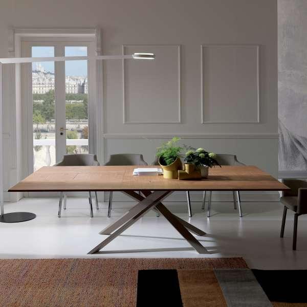 Table design rectangulaire extensible en bois et métal - 4x4 8 - 5