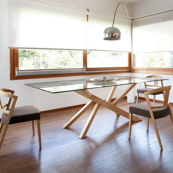 Table design en verre et pieds bois Tree Domitalia®