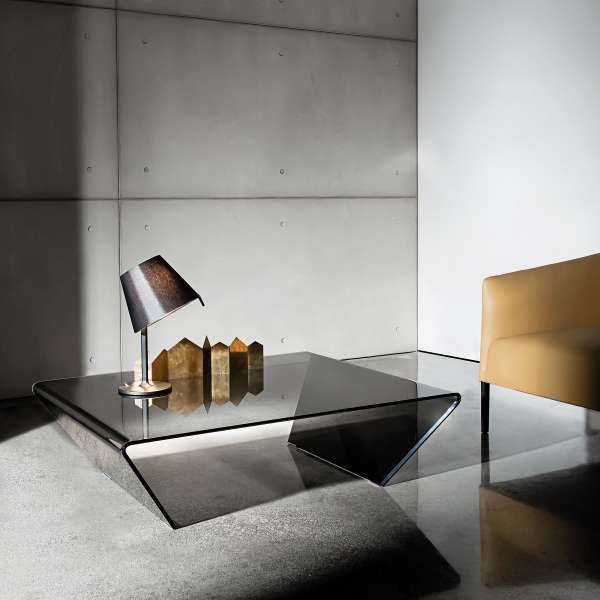 Table basse design rectangulaire ou carrée en verre -  Rubino Sovet®