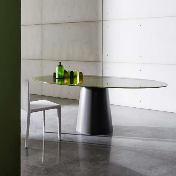 Table design ovale en verre - Totem Sovet® 3 - 3