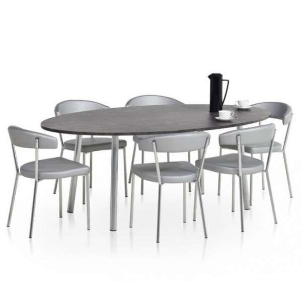 Table de cuisine ovale en stratifié - Elli 3 - 3