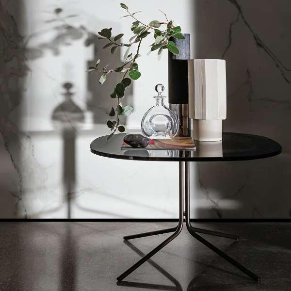 Table basse design en verre et métal - Genius - 1