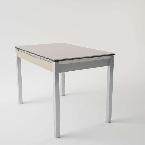 Table de cuisine en verre extensible avec tiroir - Camel 3 - 5