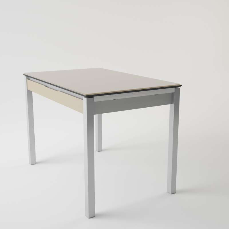 Table de cuisine en verre extensible avec tiroir camel 4 - Plateau de table de cuisine ...