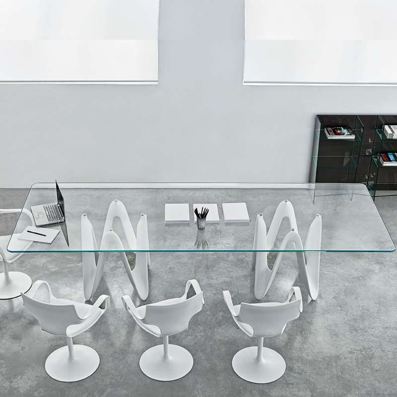 Table de salle manger design en verre 320 x 120 cm - Table design salle a manger ...
