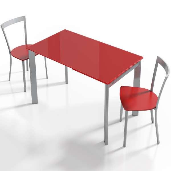 Table moderne en verre rouge avec allonge - Poker - 4